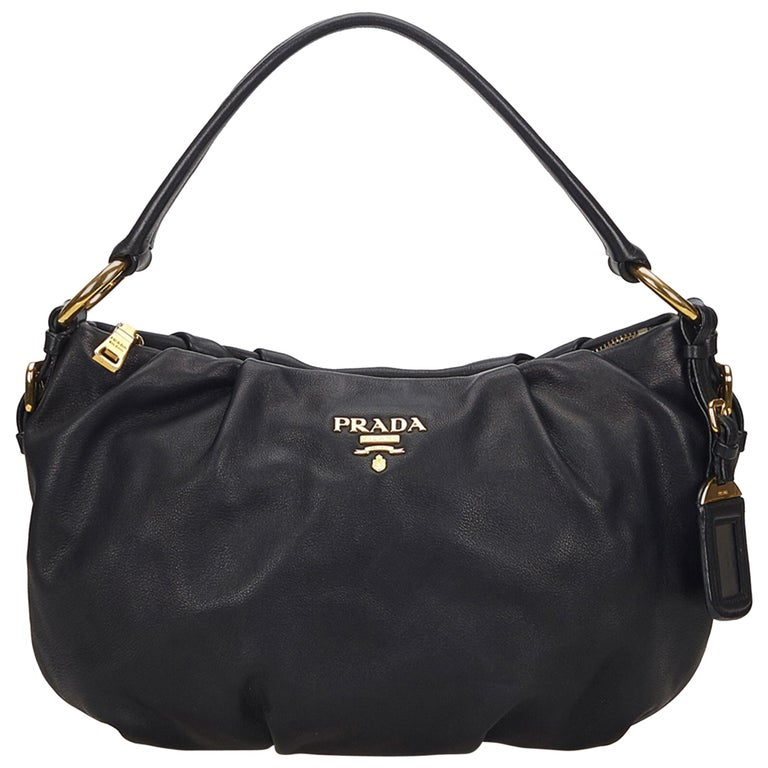 9f8c51b86947 Prada Black Leather Hobo Bag For Sale