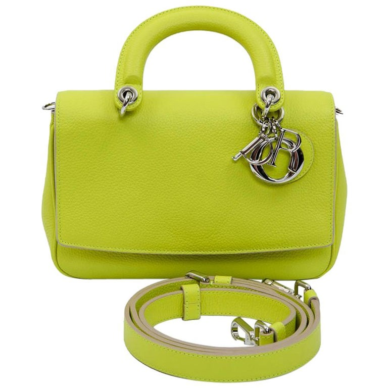 CHRISTIAN DIOR 'Be Dior' Bag in Acid Green Color Taurillon Leather
