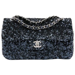CHANEL Timeless Blue Night Micro-Glitter Flap Bag