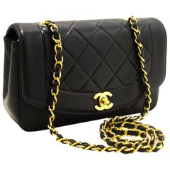 Chanel Diana Flap Navy Chain Crossbody Quilted Lamb Shoulder Bag