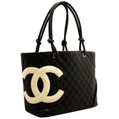 Chanel Cambon Black White Quilted Calfskin Large shoulder Bag Tote