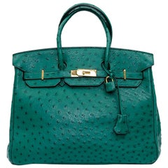 HERMES Birkin 35 Bag in Vertigo Green Ostrich Leather