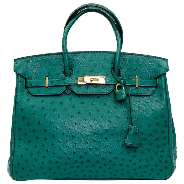 e3b530fd6a84 HERMES Birkin 35 Bag in Vertigo Green Ostrich Leather at 1stdibs