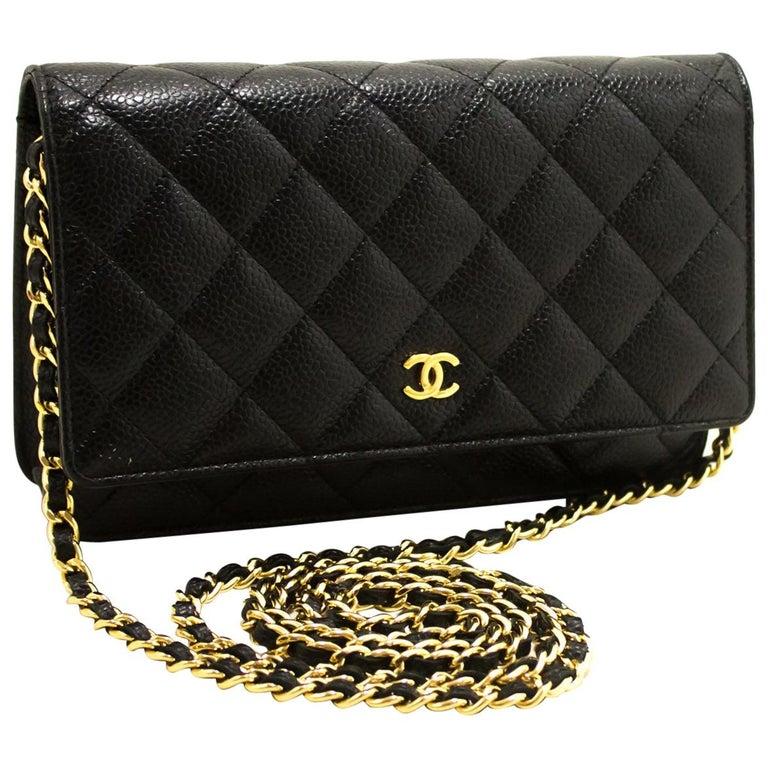5da057b054d7 Chanel Caviar Wallet On Chain WOC Black Crossbody Shoulder Bag For Sale