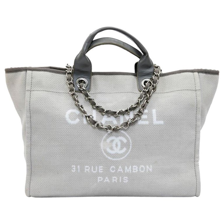 b4f983cb63a2 CHANEL Deauville Tote Bag in Light Gray Canvas at 1stdibs