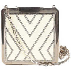 Valentino Garavani Haute Couture White Enamel Evening Bag 2001