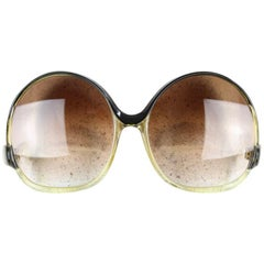 Balenciaga Black & Clear Oversized Sunglasses Model 7697 Original Sleeve, 1970s