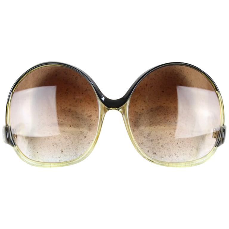 Balenciaga Black & Clear Oversized Sunglasses Model 7697 Original Sleeve, 1970s
