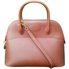 Hermès Vintage Bolide Bag 2 ways Brown Leather Golden Hdw 33 cm