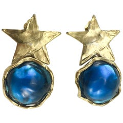 1980's Yves Saint Laurent Blue Resin and Gold-Plated Star Earrings