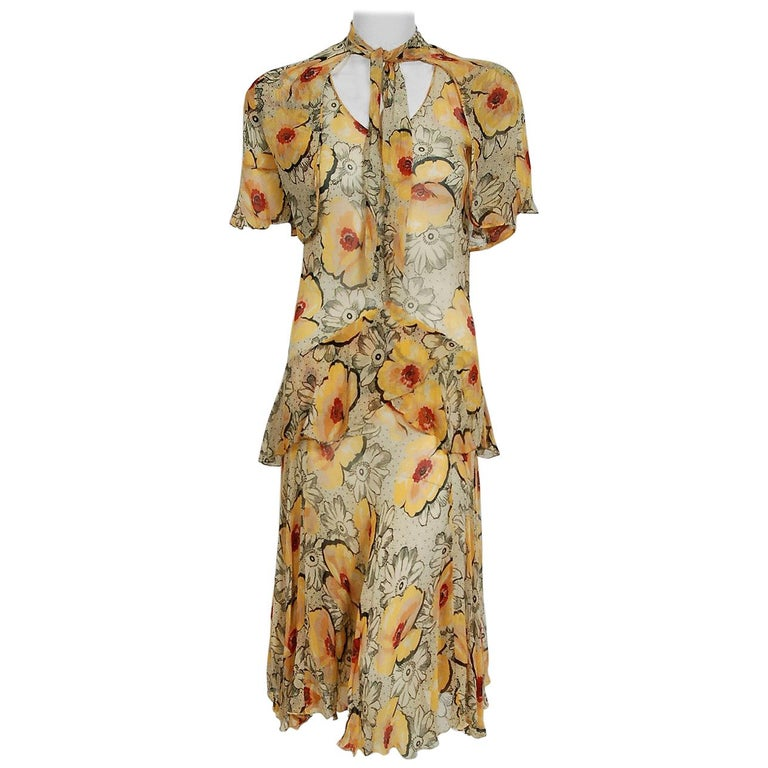 1930's Marigold Poppies Floral Print Crepe Chiffon Flutter Peplum Dress & Bolero