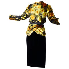 Valentino Vintage 2 Piece Dress Yellow Burn Out Velvet Top & Black Velvet Skirt