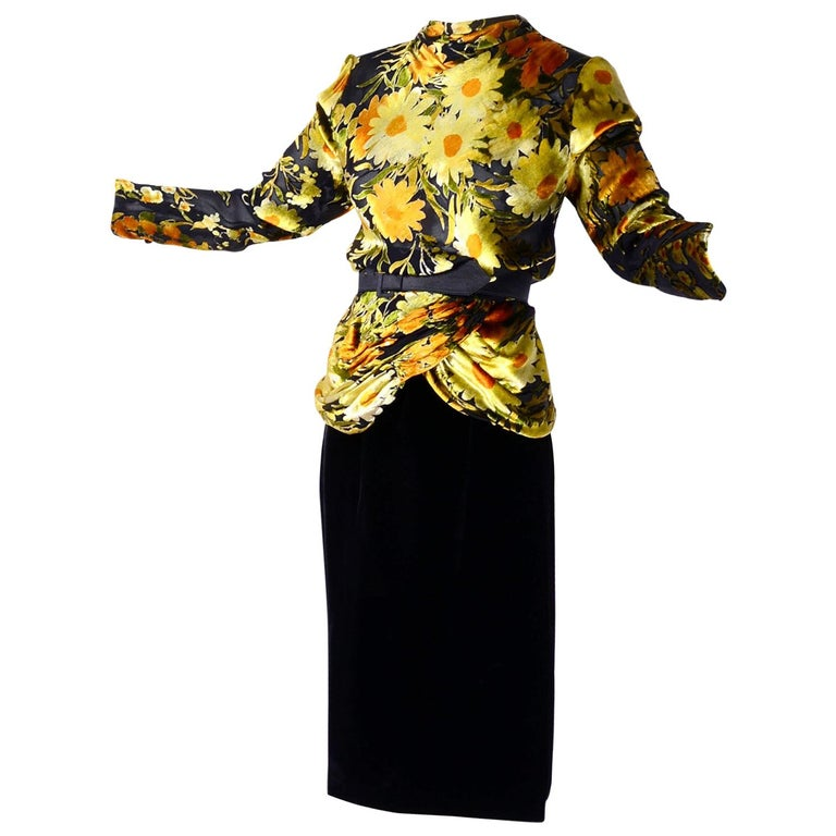 Valentino Vintage 2 Piece Dress Yellow Burn Out Velvet Top & Black Velvet Skirt For Sale