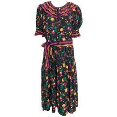 Yves Saint Laurent Rive Gauche floral silk mix print dress 1970s