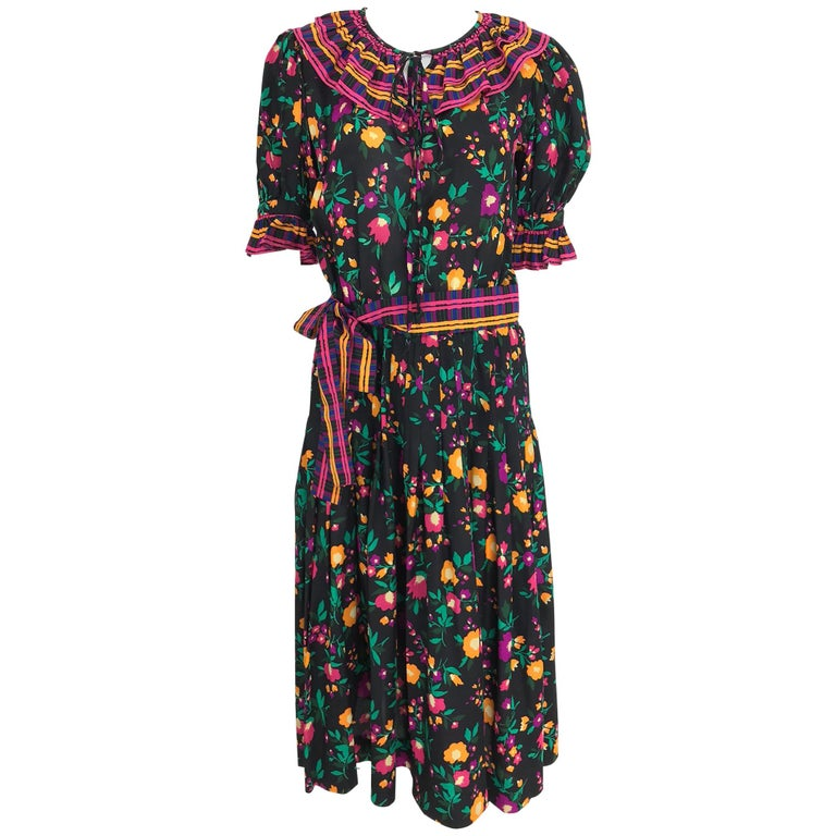 Yves Saint Laurent Rive Gauche floral silk mix print dress 1970s