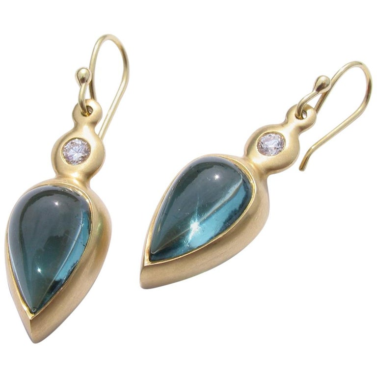 Indicolite Blue Tourmaline Cabochon 18k Gold Earrings For