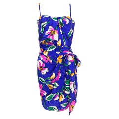 Givenchy tropical silk satin sarong dress 1980s