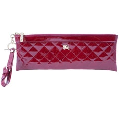 Burberry Red Bordeaux Patent Leather Baguette Clutch