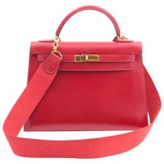 Hermes Red Box Calf 32cm Kelly Tote Bag, 1997