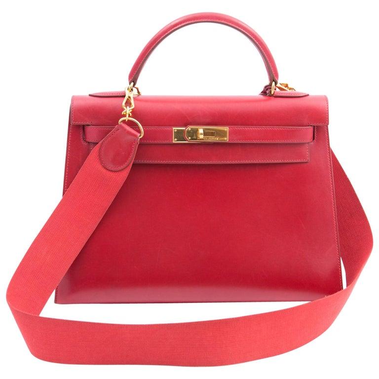 Hermes Red Box Calf 32cm Kelly Tote Bag, 1997