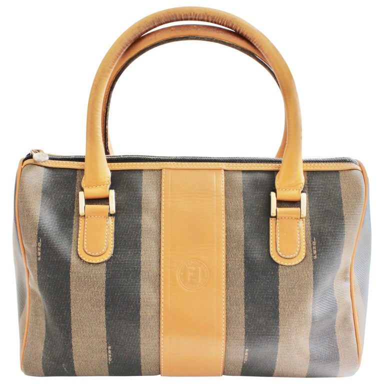 b79e6c4349 Fendi Speedy Bag Tote Pequin Stripe Canvas with Leather Trim Vintage 80s  For Sale at 1stdibs