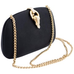 Rodo Black Silk Satin Evening Shoulder Clutch Bag