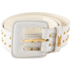 Yves Saint Laurent White Leather Belt and Gold Tone Studs