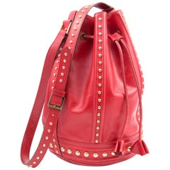 Yves Saint Laurent Rare Large Red Leather Bucket Bag
