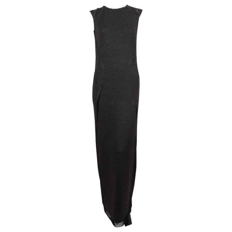 Celine By Phoebe Philo black knit dress with woven trim