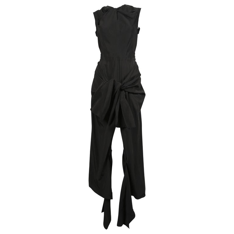 Celine By Phoebe Philo black dress with ties and cut out back  For Sale