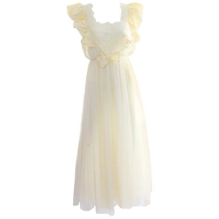 Vintage Peignoir Robe & Long Nightgown Val Mode Satin & Chiffon S New Tags