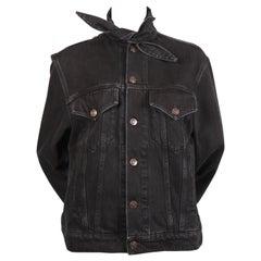 BALENCIAGA by Demna Gvasalia black denim jacket with 'scarf' collar