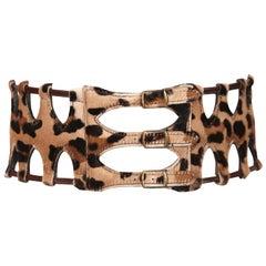 1991 AZZEDINE ALAIA pony skin leopard belt