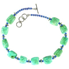 Amazonite and Blue Czech Bead Necklace