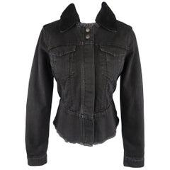 PAUL SMITH Size S Black Denim Detachable Shearling Collar Jacket