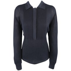 GIORGIO ARMANI Size 10 Navy Ribbed Cashmere Collared Pullover
