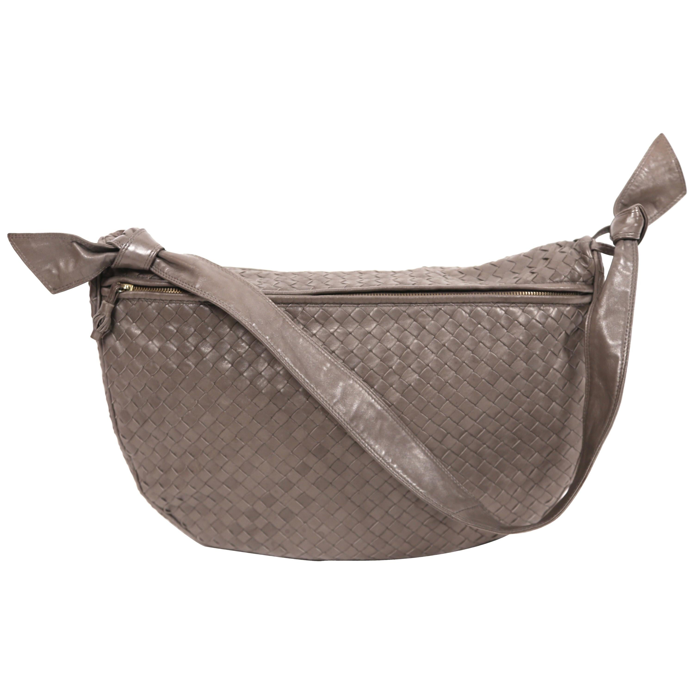 1980's BOTTEGA VENETA grey woven leather bag