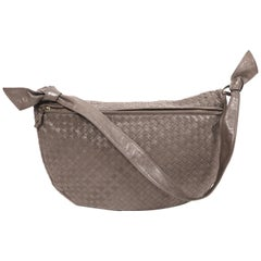 1980's BOTTEGA VENETA grey woven leather bag