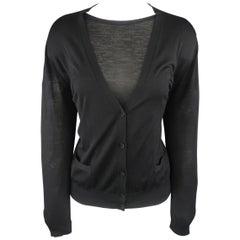 GIORGIO ARMANI Size 14 Black Sheer Virgin Wool Cardigan Set