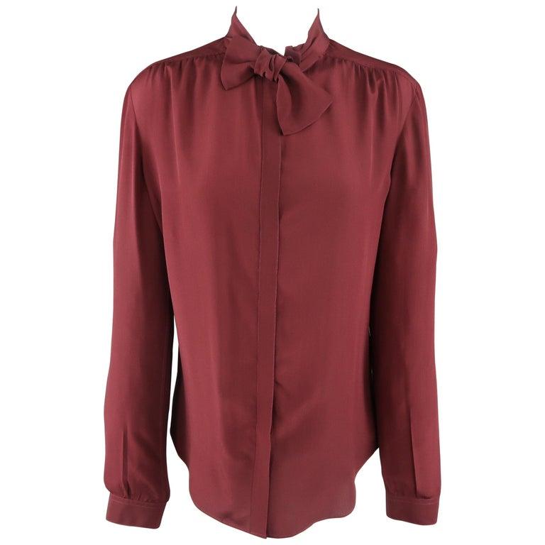 BURBERRY PRORSUM Size 6 Burgundy Silk Bow Collar Blouse For Sale