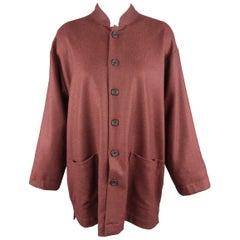 ESKANDAR Size 0 Burgundy Wool / Cashmere Oversized Band Collar Jacket