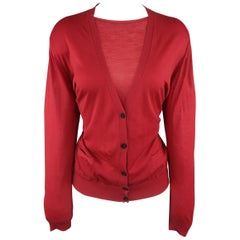 GIORGIO ARMANI Size 14 Red Sheer Virgin Wool Cardigan Set