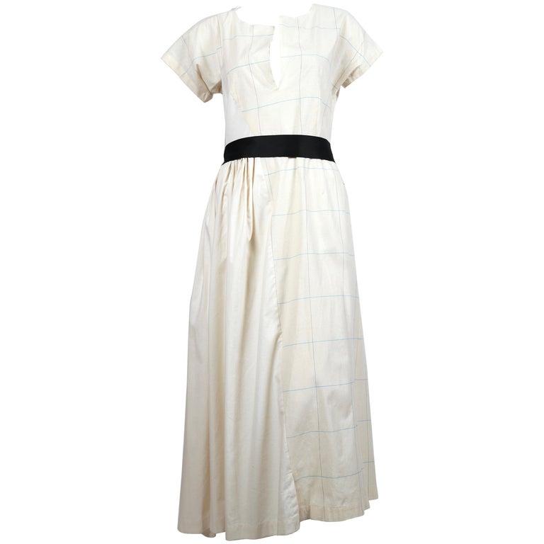 2002 COMME DES GARCONS cream asymmetrical paneled runway dress