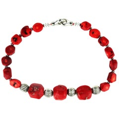 Red Coral with Silver Tone Accents Necklace