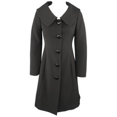 MOSCHINO Size 4 Black Oversized Collar Bow Coat
