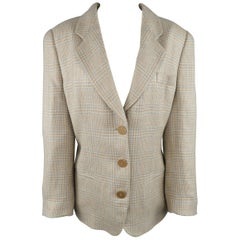 GIORGIO ARMANI Size 12 Beige & Blue Plaid Flax / Silk Blend Blazer Jacket