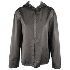 JIL SANDER Black Coated Cotton Twill Hooded Jacket
