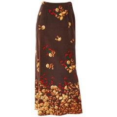 Valentino  Velvet Acorn Pattern Maxi Skirt