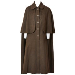 Yves Saint Laurent Loden Wool Gendarme Cape