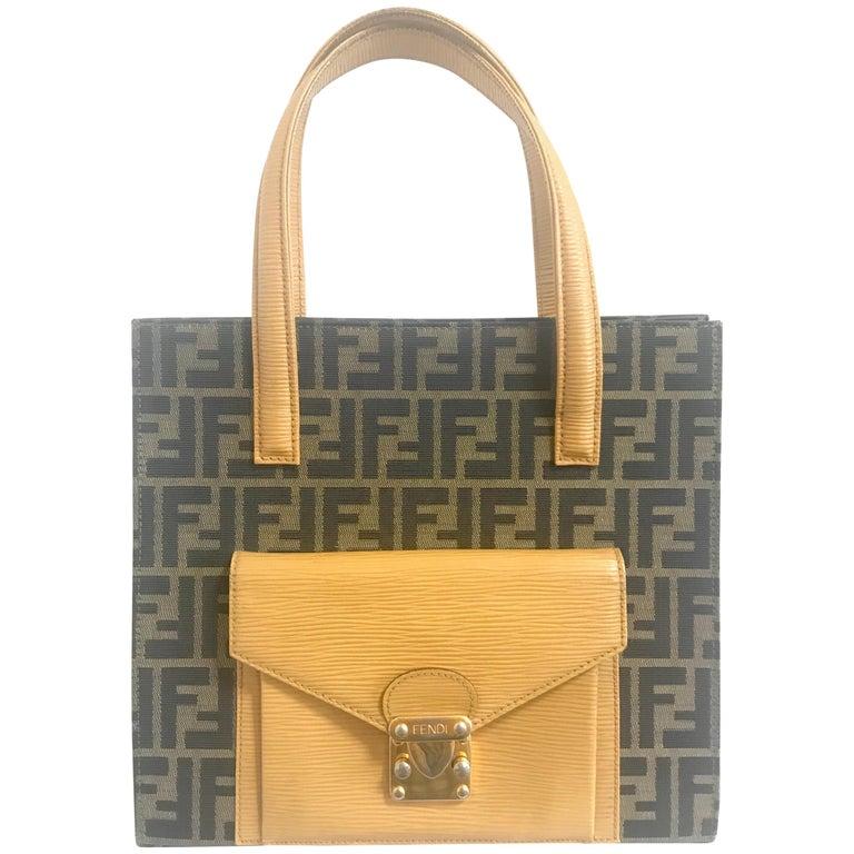 Vintage Fendi classic logo zukka jacquard & mustard yellow epi leather tote bag.